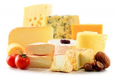 Sticker Verschiedene Sorten von Käse isoliert auf weißem Hintergrund