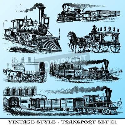 Sticker verschiedene Weinlese-Stil Illustrationen - alten Transportgruppe