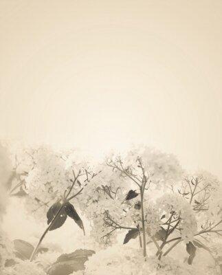 Sticker Verschwommene Sepia Blumen Hintergrund.