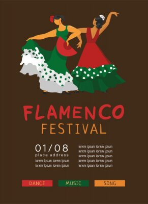 Vertical poster template, invitations for the festival of Spanish culture. Two flamenco dancers in beautiful dresses with a fan. The symbols of Spain for a promo. Falt cartoon vector illustration.