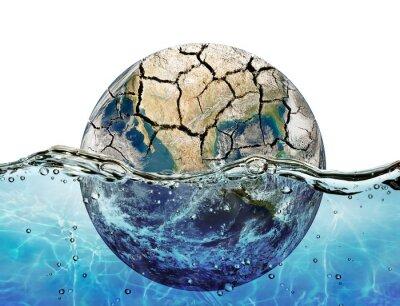 Sticker Vertrocknet Planeten in den Gewässern der Weltmeere getaucht
