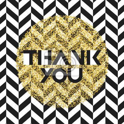 Vielen Dank. Einladungskartenentwurfsschablone. Chevron schwarzes Muster und goldene chaotische Punkte. Vektor-Einladung Design Hintergrund.