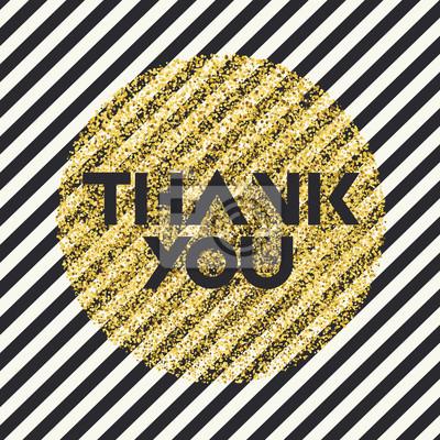 Vielen Dank. Einladungskartenentwurfsschablone. Diagonale schwarze Linien Muster und goldene chaotische Punkte Kreis geformt. Vektor-Einladung Design Hintergrund.