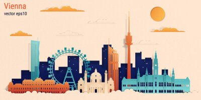 Vienna city colorful paper cut style, vector stock illustration. Cityscape with all famous buildings. Skyline Vienna city composition for design.
