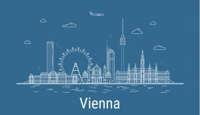 Vienna city, Line Art Vector illustration with all famous buildings. Linear Banner with Showplace. Composition of Modern buildings, Cityscape. Vienna buildings set.