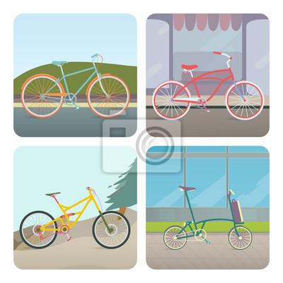 Vier Fahrräder.