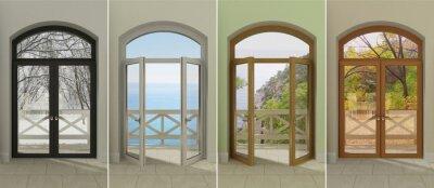 Sticker Vier Fenster zu verschiedenen Zeiten des Jahres. Vier mehrfarbige Fenster mit Zugang zu den verschiedenen Jahreszeiten.