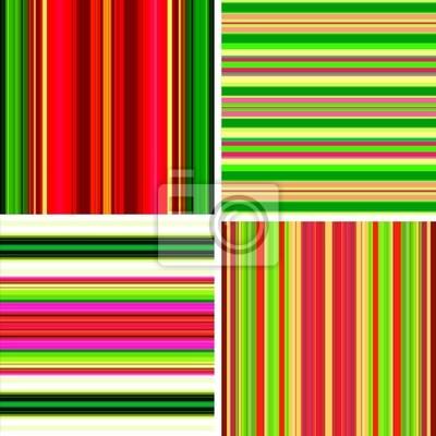 Vier Retro Streifen Hintergründe in hellen Farben