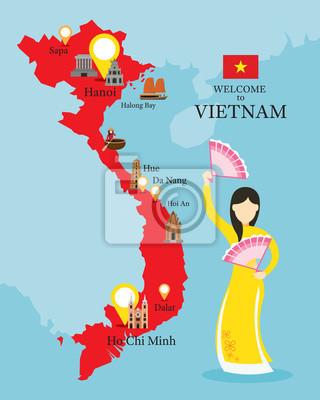 Vietnam Karte und Sehenswürdigkeiten mit Menschen in traditionelle Kleidung