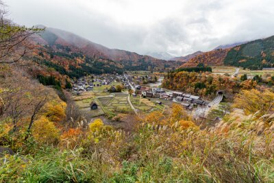 View from Ogimachi castle observation deck, Shirakawa-go, Gifu, Japan with cloudy in autumn/fall season