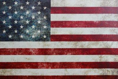 Sticker Vintage amerikanische Flagge auf Leinwand