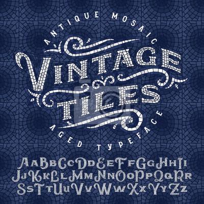 Sticker Vintage antike Mosaik Schriftbild aus Hunderten von alten Fliesen. Mit nahtlosen Hintergrundmuster.