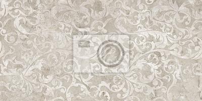 Sticker vintage background with floral damask pattern