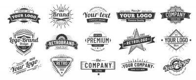 Sticker Vintage badge. Retro brand name logo badges, company label and hipster frame vector illustration set