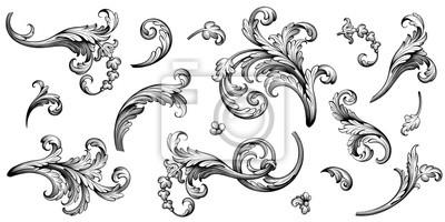 Sticker Vintage Baroque Victorian frame border flower pattern vector floral engraved scroll ornament leaf retro decorative design tattoo black and white filigree calligraphic heraldic shield swirl