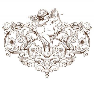 Sticker Vintage dekorative Element Gravur mit barocken Ornament-Muster und Amor
