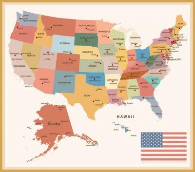 Sticker Vintage Farbe Politische Karte der USA