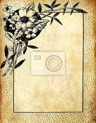 Vintage flower Rahmen auf alten Grunge Papier
