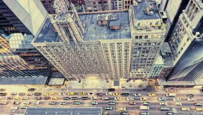 Sticker Vintage Foto von New York Straßen von der Dachterrasse