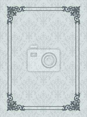 Vintage frame auf Damast nahtlose Hintergrund