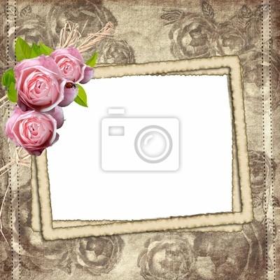 Vintage Hintergrund mit Rahmen für Foto und Rosen