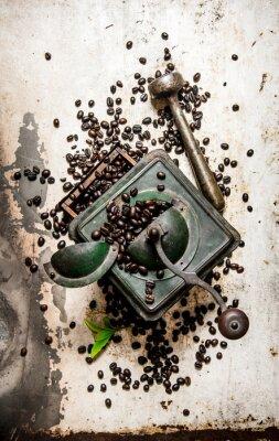 Sticker Vintage Kaffeemühle mit Stößel