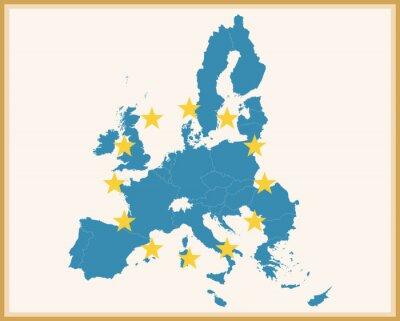 Sticker Vintage Karte der Europäischen Union mit EU-Flagge