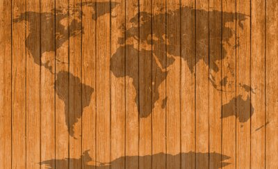 Sticker Vintage-Karte von Holz Textur Hintergrund