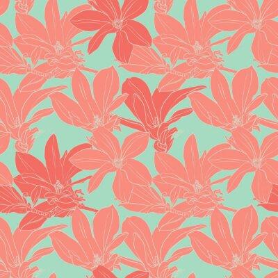 Sticker Vintage Magnolia Blumen nahtlose Muster.