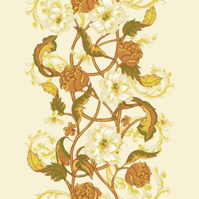 Sticker Vintage nahtlose Grenze mit blühenden Magnolien, Rosen und Zweigen