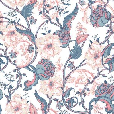 Sticker Vintage nahtlose Muster mit blühenden Magnolien, Rosen und Zweig