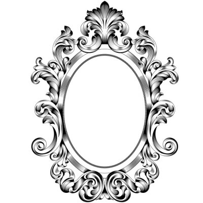 Sticker Vintage oval pattern frame in old style. Vector.