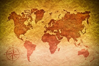 Sticker vintage paper  with world map