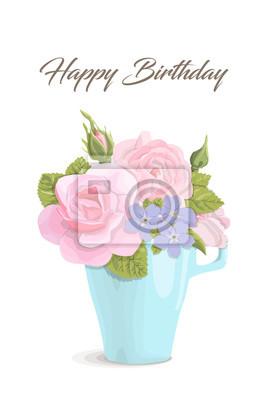 Vintage Romantische Karte Blumen Im Becher Alles Gute Zum Geburtstag