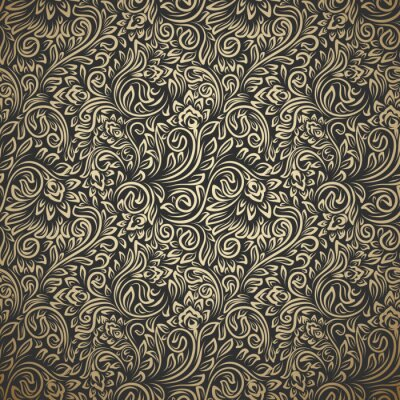 Sticker Vintage seamless pattern with curls