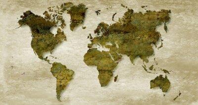 Sticker Vintage sepia world map background