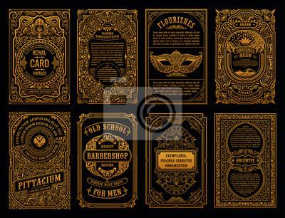 Sticker Vintage set retro cards. Template greeting card wedding invitation. Line calligraphic frames