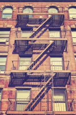 Sticker Vintage-Stil Foto von New York Gebäude, USA.