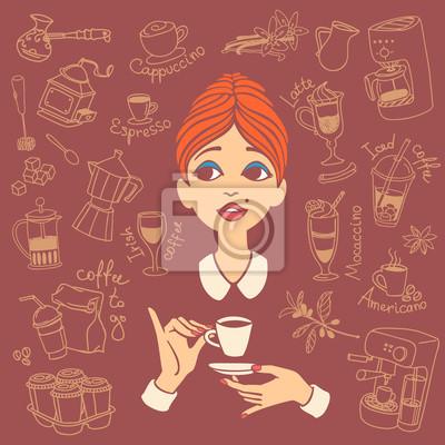 Vintage-Stil Porträt von rothaarigen jungen Frau mit Kaffeetasse in einer Hand und Untertasse in einer anderen Hand, umgeben von Kaffee Doodles. Vektor-Illustration