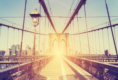 Sticker Vintage stilisierte Abbildung der Brooklyn-Brücke, NY.