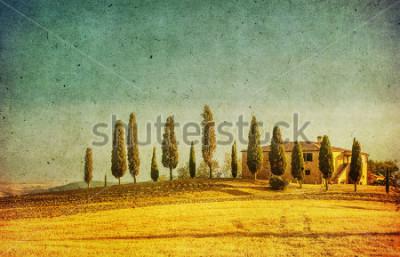 Sticker vintage tuscan landscape