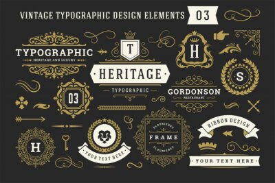 Sticker Vintage typographic decorative ornament design elements set vector illustration