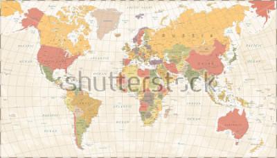 Sticker Vintage World Map - Detailed Vector Illustration