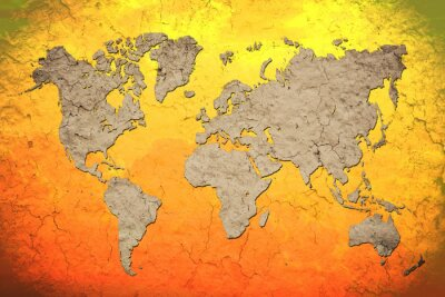 Sticker vintage world map with Red background