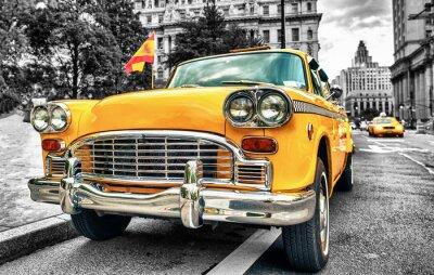 Sticker Vintage Yellow Cab in Lower Manhattan - New York City