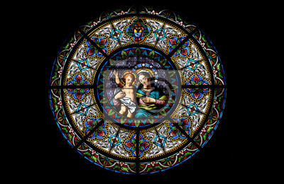 Sticker Virgin Mary with baby Jesus, stained glass window in the Cathedral of Saint Lawrence in Lugano, Switzerland