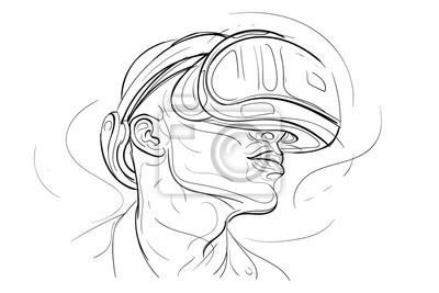 Virtual Reality Headset eine Zeile Hand gezeichnet Illustration. Vektor.