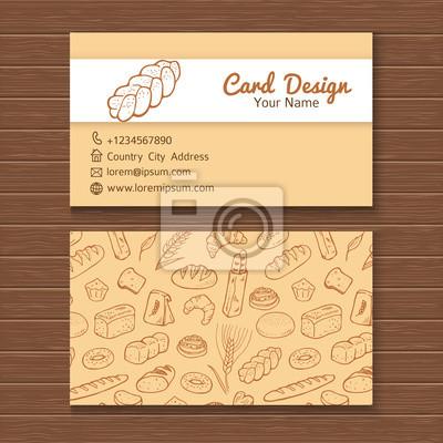 Visitenkarte Vorlage Mit Hand Gezeichnet Doodle Bäckerei Set