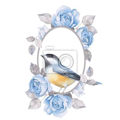Vogel mit blauen Rosen. Aquarellillustration, getrennt auf Weiß
