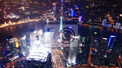 Vogel s eye view of Shanghai Pudong bei Nacht